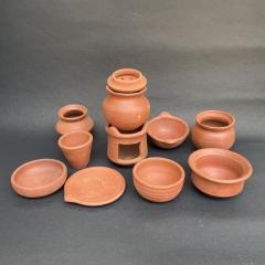 Clay Kitchen Set 11 Pcs Miniature For Kids | Medium size earthenware Playset